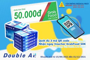 double a khuyến mãi, double a a4 80gsm khuyến mãi. quét mã qr code nhận voucher grabfood 50k